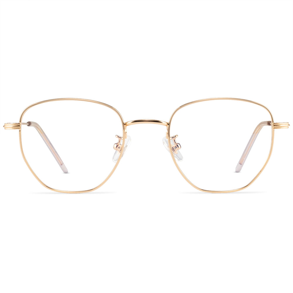 Drea Full Rim Metallic Round Frame With Prescription Lenses