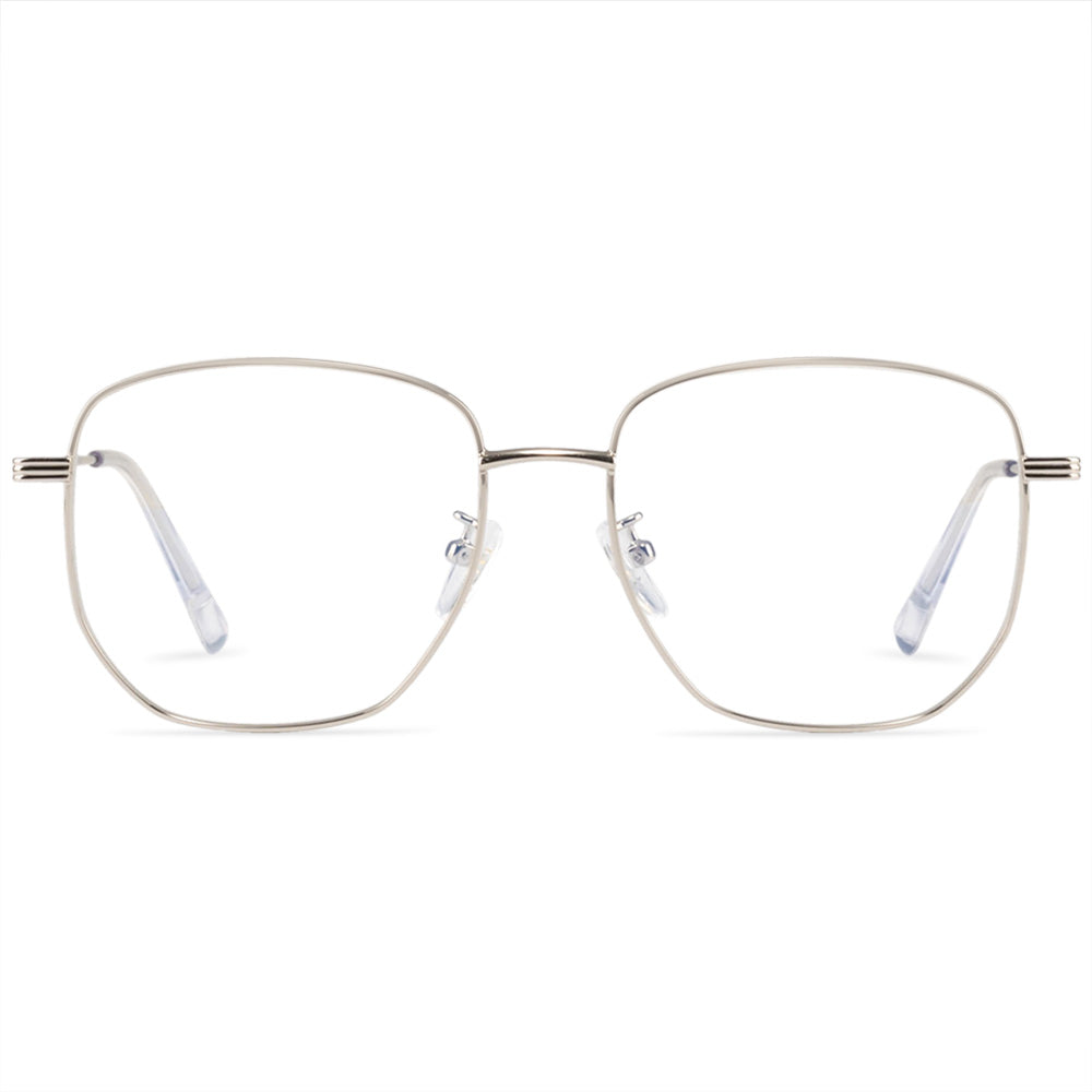 Nirva Square Full Rim Metallic Round Aviator Frame With Prescription Lenses