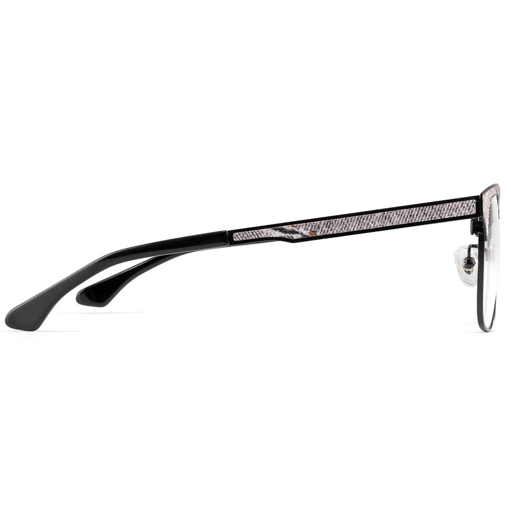 Hunter Full Rim Metallic/Fabric Square Frame With Prescription Lenses | Charm Optical