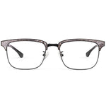 Hunter Full Rim Metallic/Fabric Square Frame With Prescription Lenses