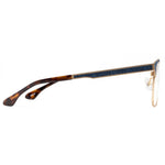 Moon Full Rim Metallic/Fabric Square Frame With Prescription Lenses | Charm Optical