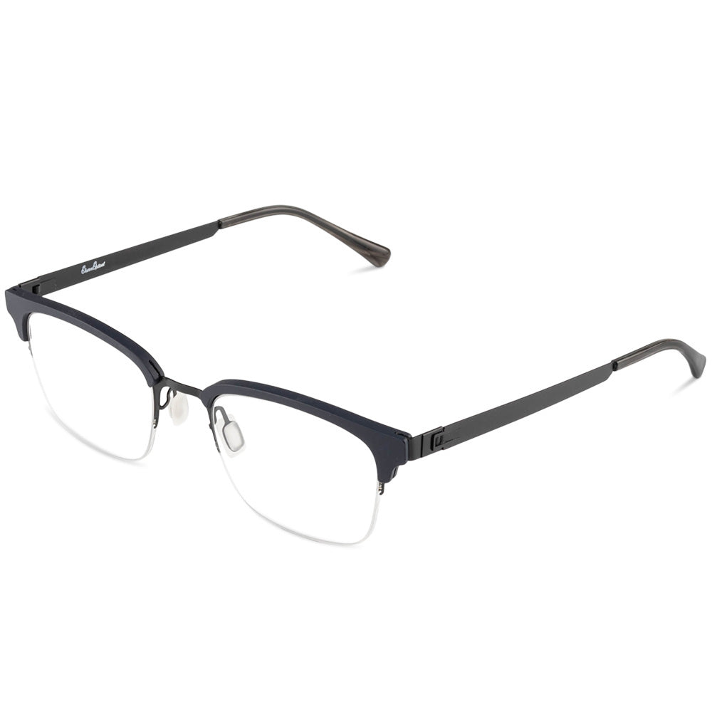 Kennedy Half Rim Metallic/Plastic Square Browline Frame With Prescription Lenses | Charm Optical