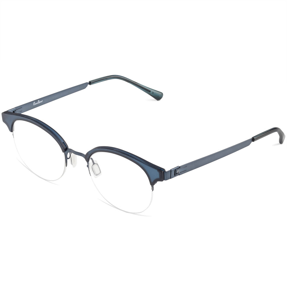 Dylan Half Rim Metallic/Plastic Round Browline Frame With Prescription Lenses | Charm Optical