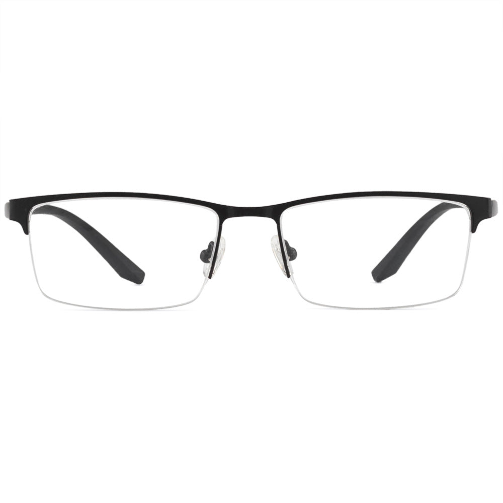 Julius Half Rim Metallic Rectangle Frame With Prescription Lenses
