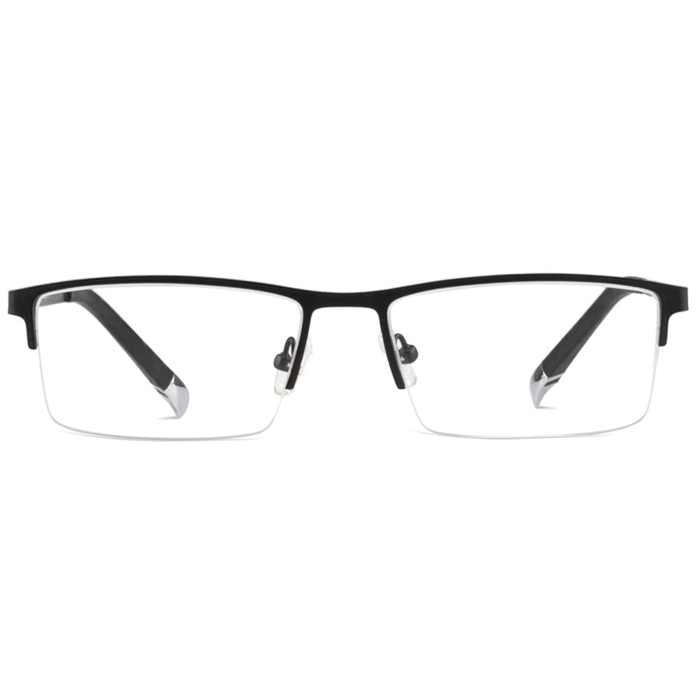 Daniel Half Rim Metallic Rectangle Frame With Prescription Lenses