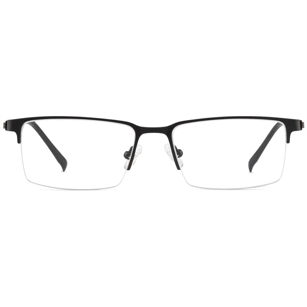 Joshua Half Rim Metallic Square Frame With Prescription Lenses