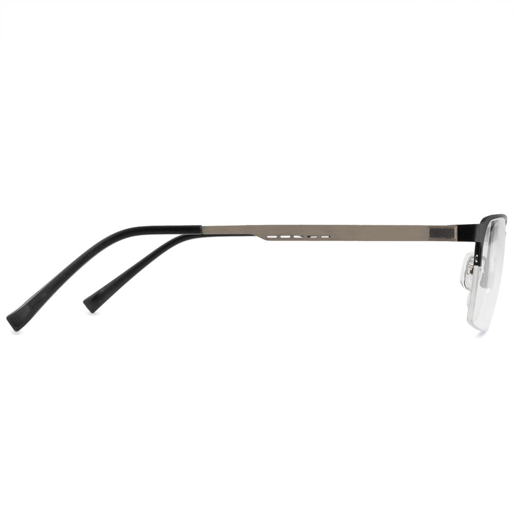 Dennis Half Rim Metallic Square Frame With Prescription Lenses | Charm Optical