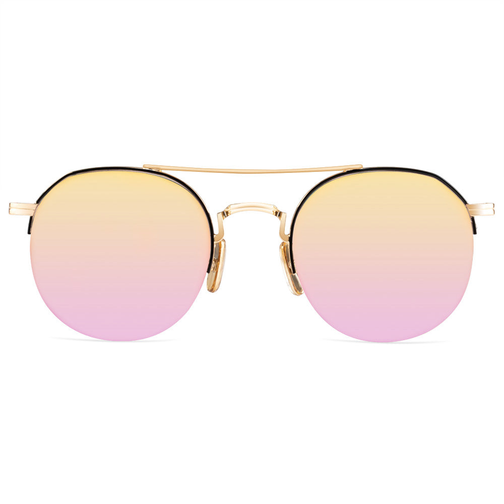 Cindy Half Rim Metallic Round Sunglasses With Prescription Lenses
