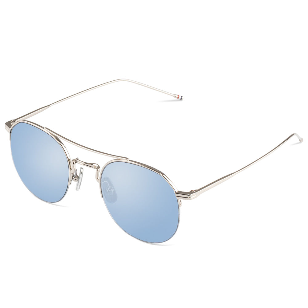 Cindy Half Rim Metallic Round Sunglasses With Prescription Lenses | Charm Optical