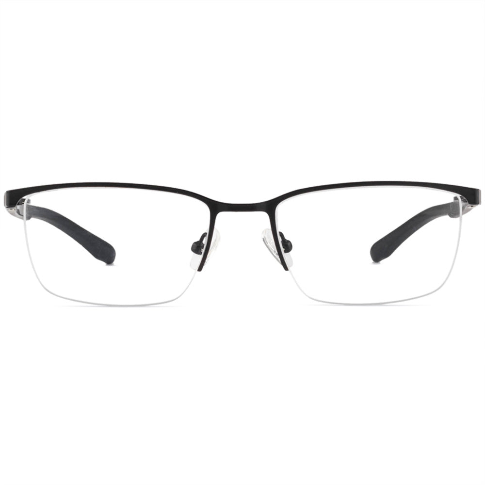 Raymond Half Rim Metallic Square Frame With Prescription Lenses