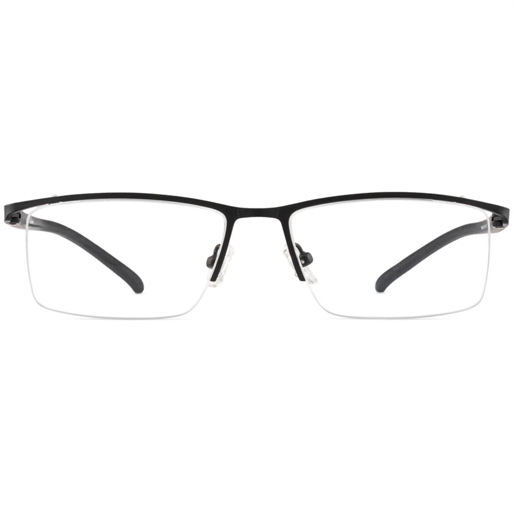 Gerald Half Rim Metallic Square Frame With Prescription Lenses