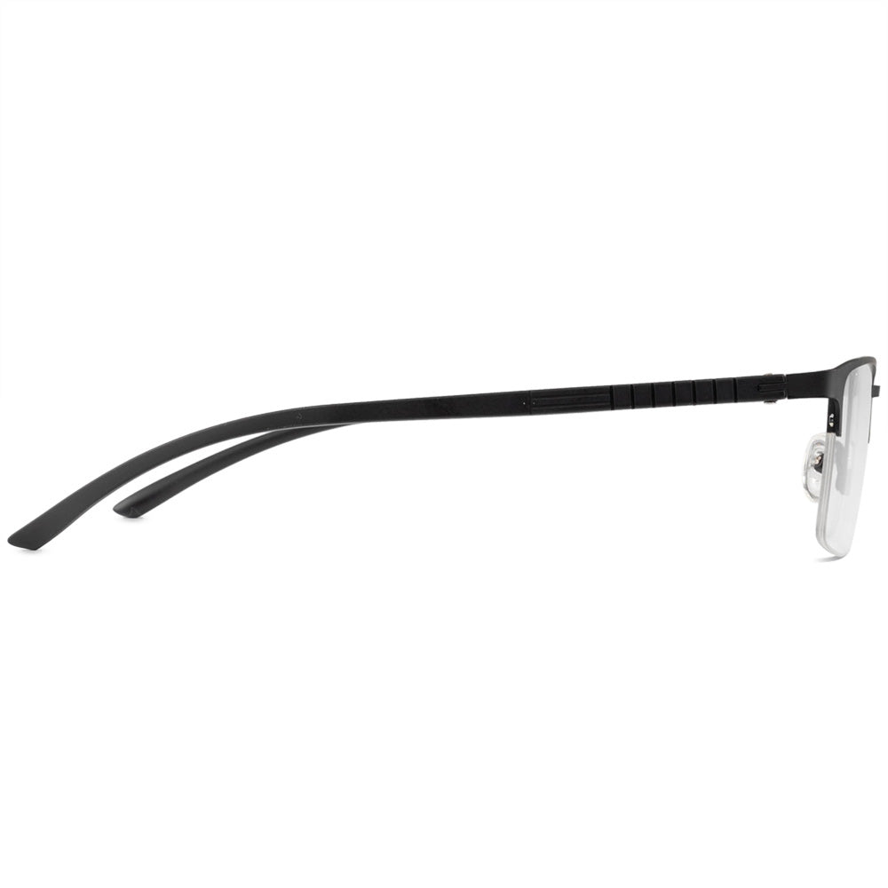 Brandon Half Rim Metallic Rectangle Frame With Prescription Lenses | Charm Optical