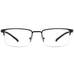 Brandon Half Rim Metallic Rectangle Frame With Prescription Lenses