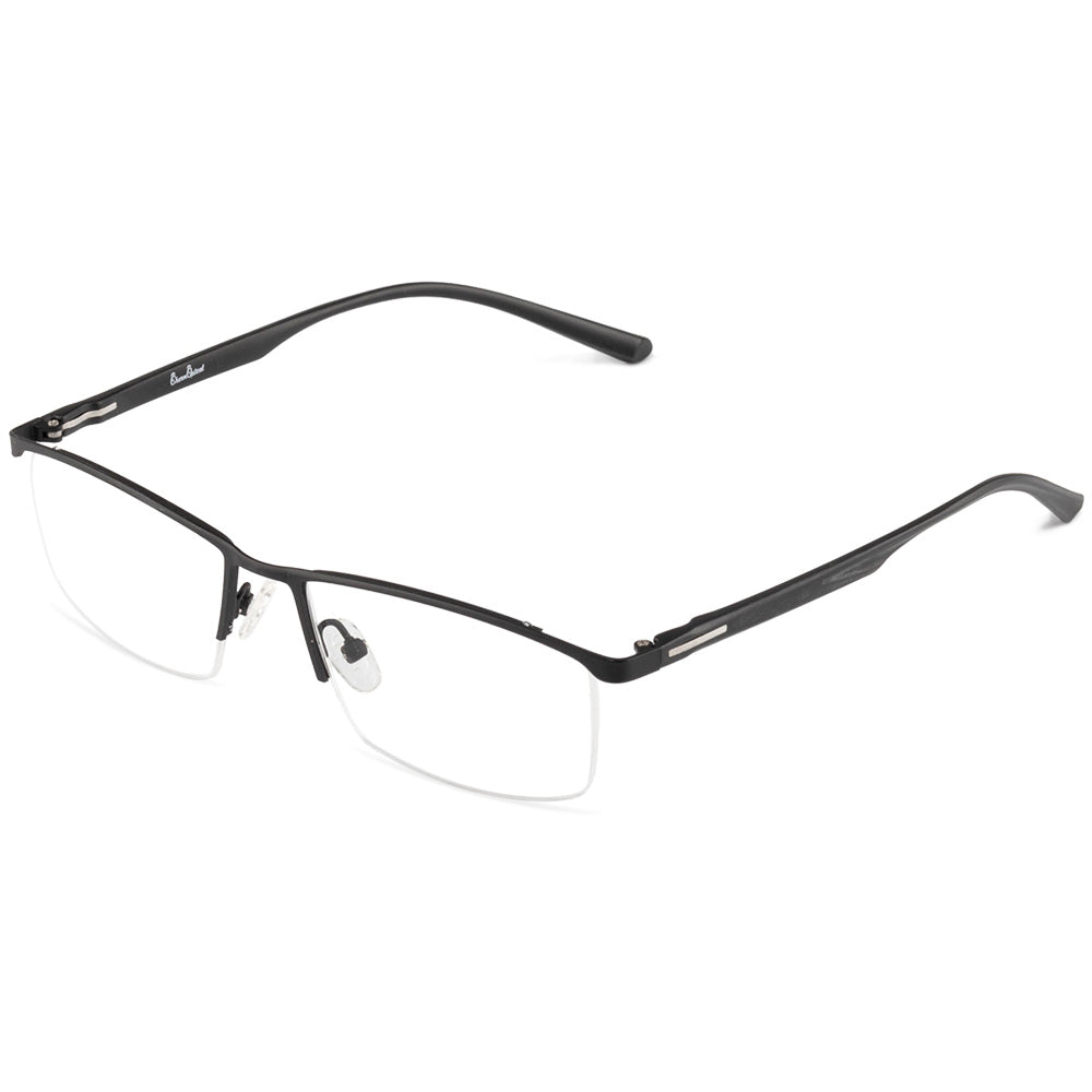 Jensen Half Rim Metallic Square Frame With Prescription Lenses | Charm Optical