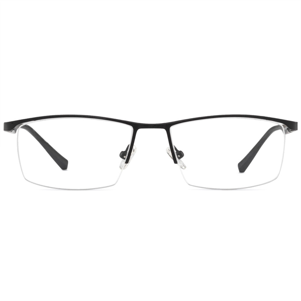 Jensen Half Rim Metallic Square Frame With Prescription Lenses