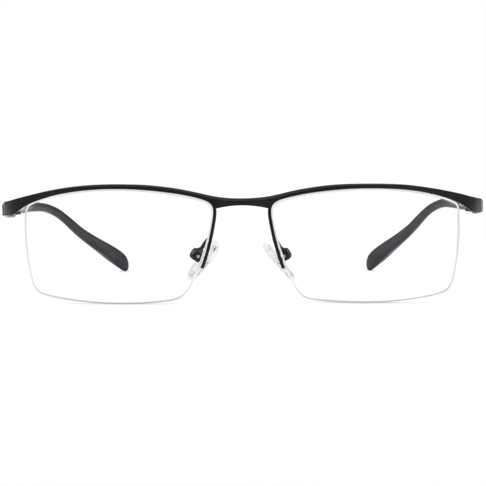 Michael Half Rim Metallic Square Frame With Prescription Lenses