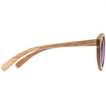 Goldie Full Rim Wooden Round Sunglasses With Prescription Lenses | Charm Optical
