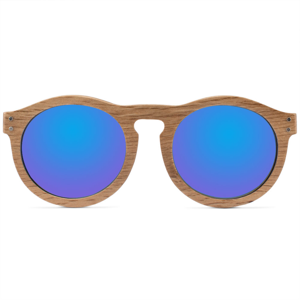 Goldie Full Rim Wooden Round Sunglasses With Prescription Lenses
