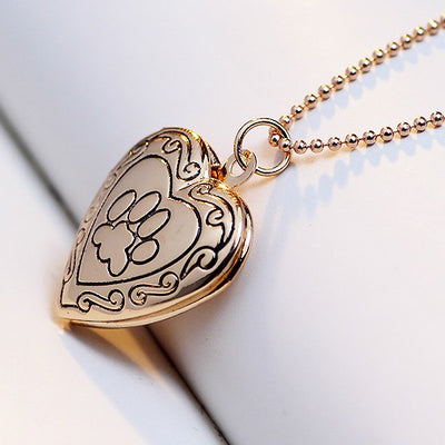 PAW AND HEART-SHAPED LOCKET NECKLACE