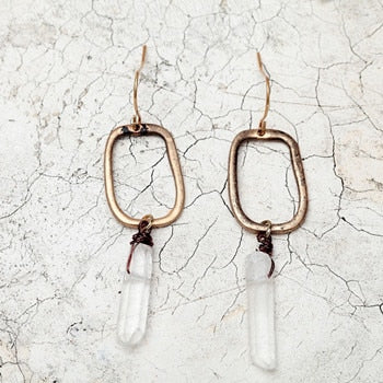 NATURAL QUARTZ CRYSTAL OVAL EARRINGS
