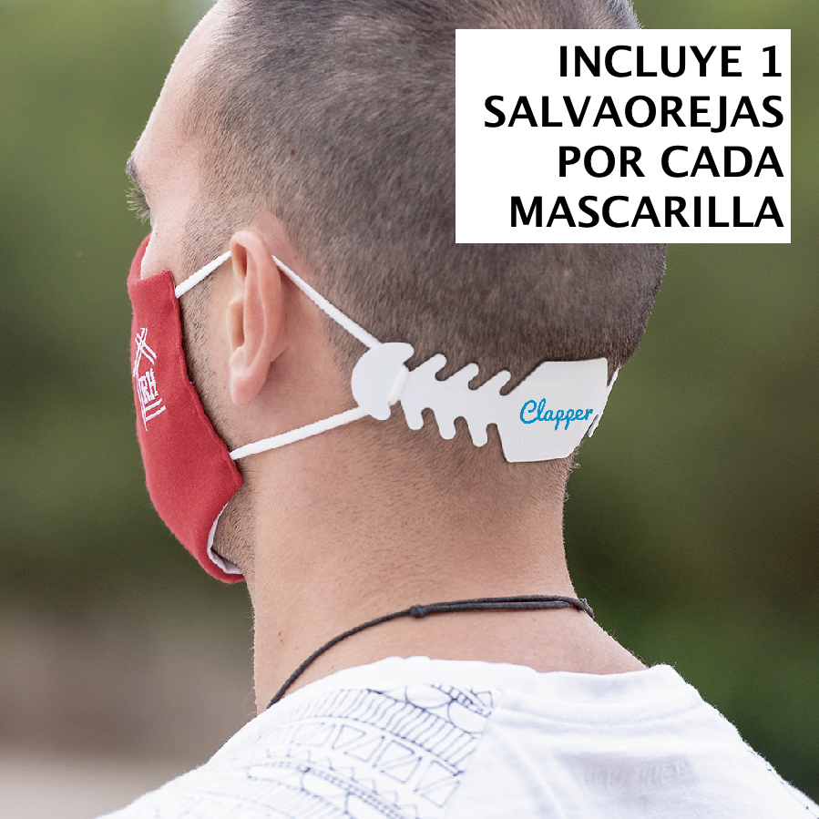 Mascarilla REAL MADRID + salva-orejas de regalo  - UNE 0065:2020 | CLAPPER |  >> Reutilizable + lavable - Grupo Clapper