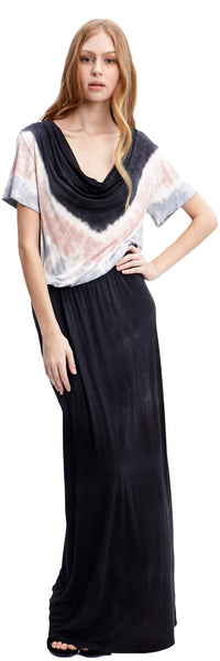 3 TONE TIE DYE SHIRT MAXI DRESS