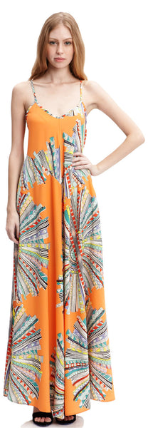 Sunburst Print Maxi Dress