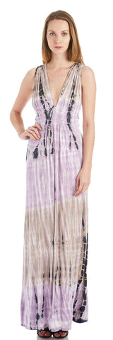 TIE DYE DEEP V MAXI DRESS