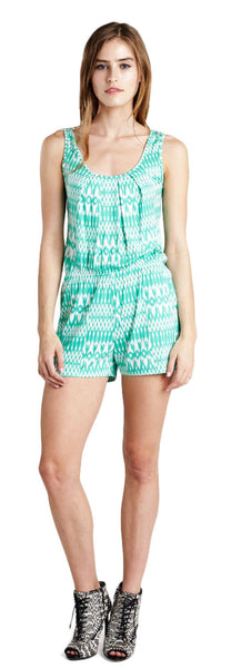 MILA GREEN SLEEVELESS ROMPER