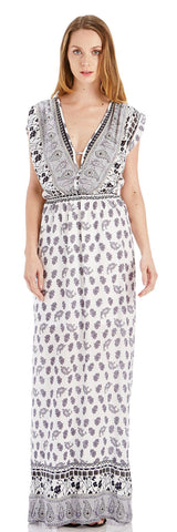 PAISLEY DEEP V MAXI DRESS