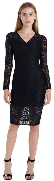 STRETCH LACE V NECK MIDI DRESS