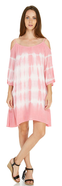 TIE DYE COLD SHOULDER SHIFT DRESS