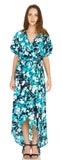 FLORAL PRINT WOVEN HIGH LOW MAXI DRESS
