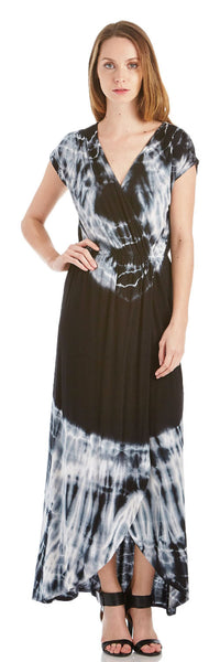 TIE DYE SURPLICE MAXI DRESS