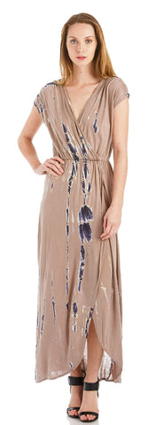 TIE DYE FAUX WRAP MAXI DRESS