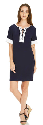 TIE NECK SHORT SLEEVE SHIFT DRESS