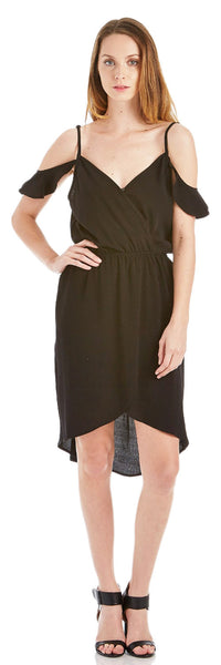COLD SHOULDER CREPE FAUX WRAP DRESS