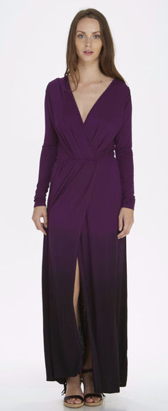 L/S OMBRE DYE FAUX WRAP MAXI DRESS