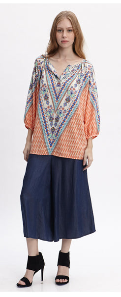 KARA ORANGE PEASANT BLOUSE