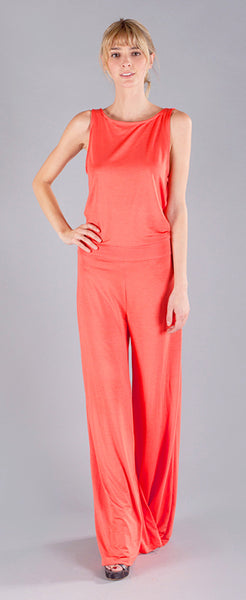 CORAL COWL BACK JUMPSUIT