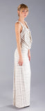 MARBLE STRIPE COWL NECK MAXI DRESS