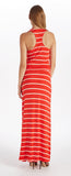 STRIPE DEEP COWL NECK MAXI DRESS