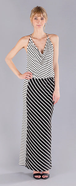 CONTRAST STRIPE T BACK MAXI DRESS