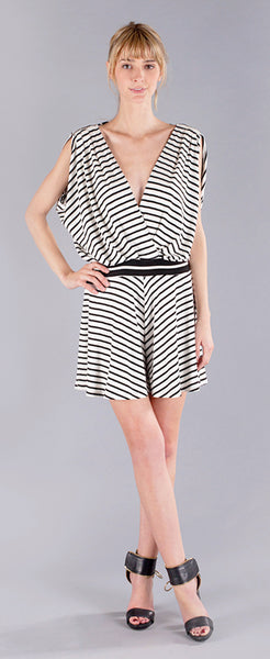 STRIPED DEEP V ROMPER