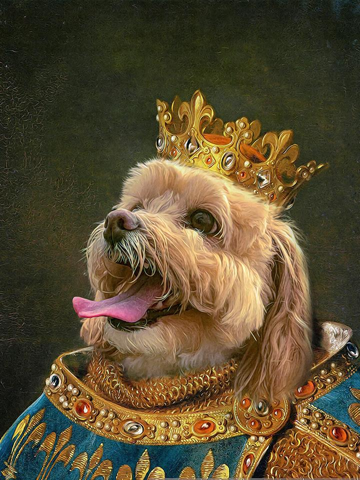 Crowned King Custom Pet Canvas (Male) - Printy Paw