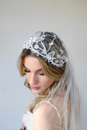 Sample Beaded Cap Veil