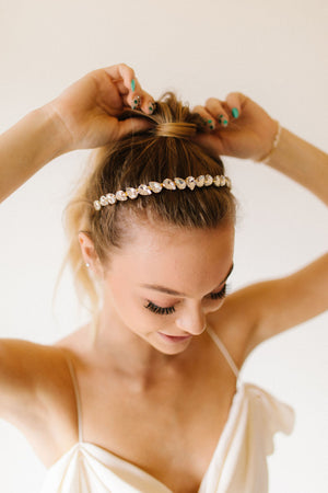 Rock Crystal Headband - Clear Gold