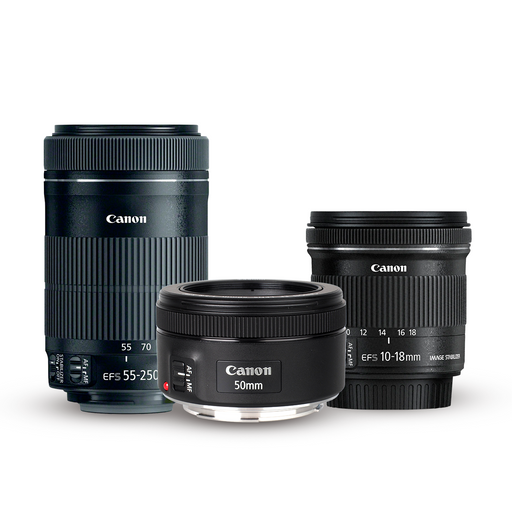 KIT: 3 LENTES EF-S 55-250mm + EF 50mm 1.8 + EF-S 10-18mm