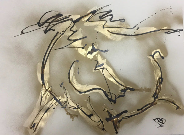Gold Lightning by Donna Bernstein 22 x 30  Acrylic and Ink on Paper