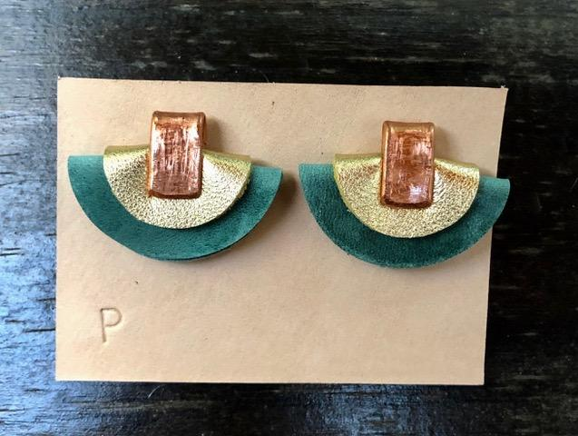 Petite Half Moon Leather Earrings: Light Teal and Gold